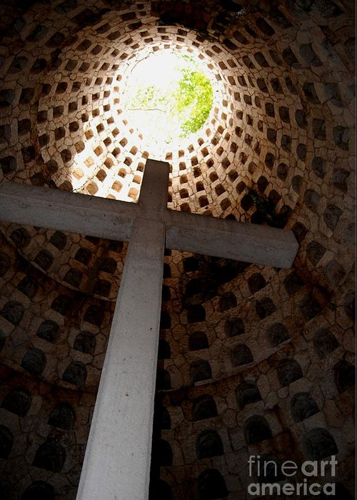 Cross Greeting Card featuring the photograph Xcaret Cemetery Catacomb by Angela Murray
