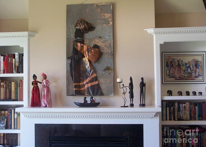 Wall Sculpture Greeting Card featuring the sculpture Xhosa Woman installed by Jeff Williams