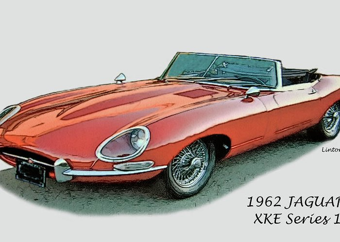 Jaguar Greeting Card featuring the digital art XKE by Larry Linton