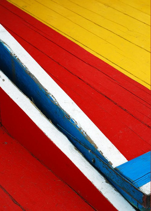 Red Greeting Card featuring the photograph Xochimilco Boat Abstract 1 by Skip Hunt