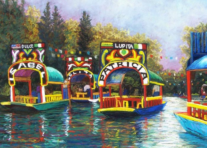 Landscape Greeting Card featuring the pastel Xochimilco by Candy Mayer