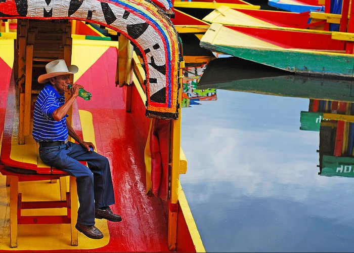 Skip Hunt Greeting Card featuring the photograph Xochimilco by Skip Hunt