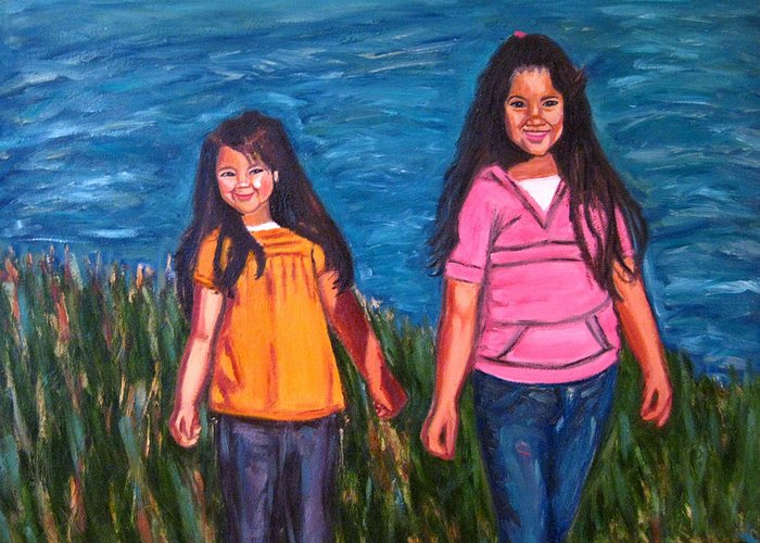 Portrait Greeting Card featuring the painting Xochitl And Citlalli by Albert Almondia