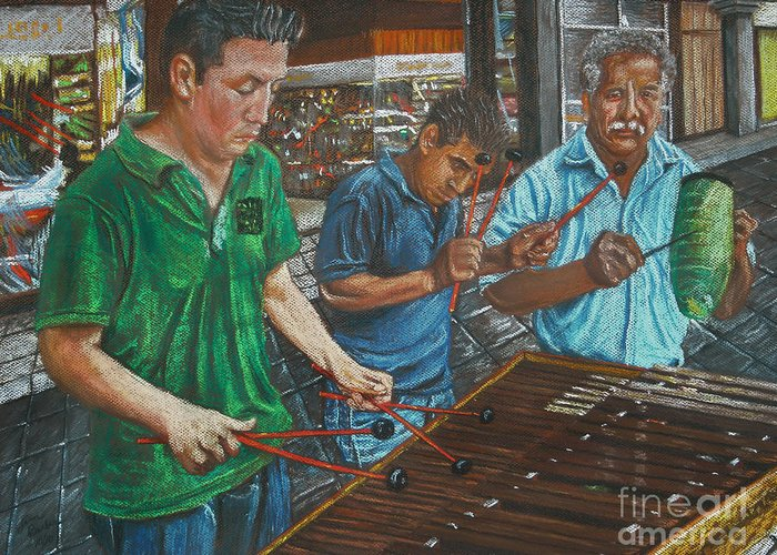Impressionistic Greeting Card featuring the painting Xylophone Players by Jim Barber Hove