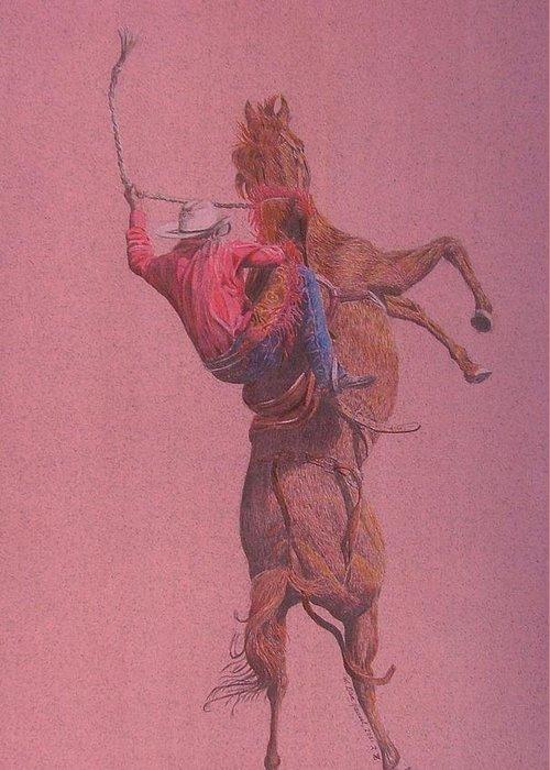 Rodeo Greeting Card featuring the drawing Yaa Hoooo by Dan Hausel