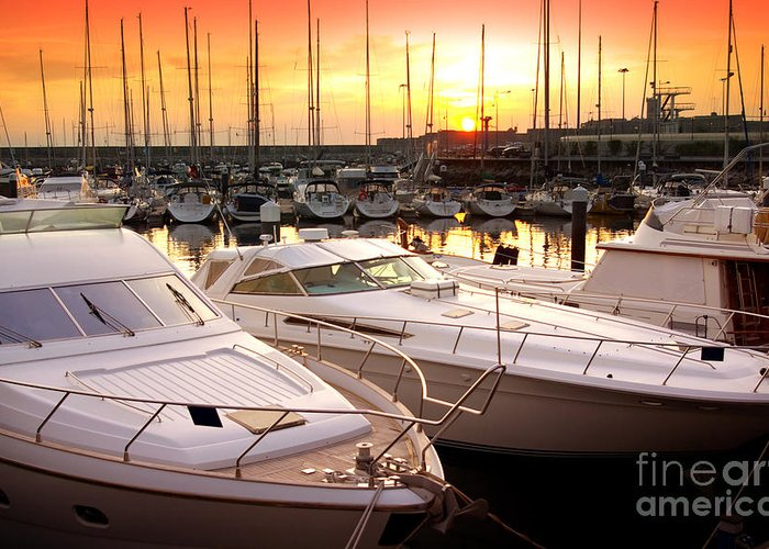 Anchor Greeting Card featuring the photograph Yacht Marina by Carlos Caetano