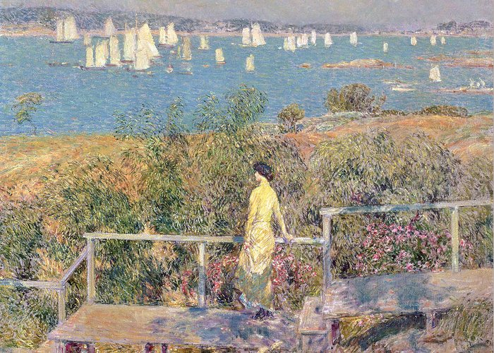 Yachts Greeting Card featuring the painting Yachts In Gloucester Harbor by Childe Hassam