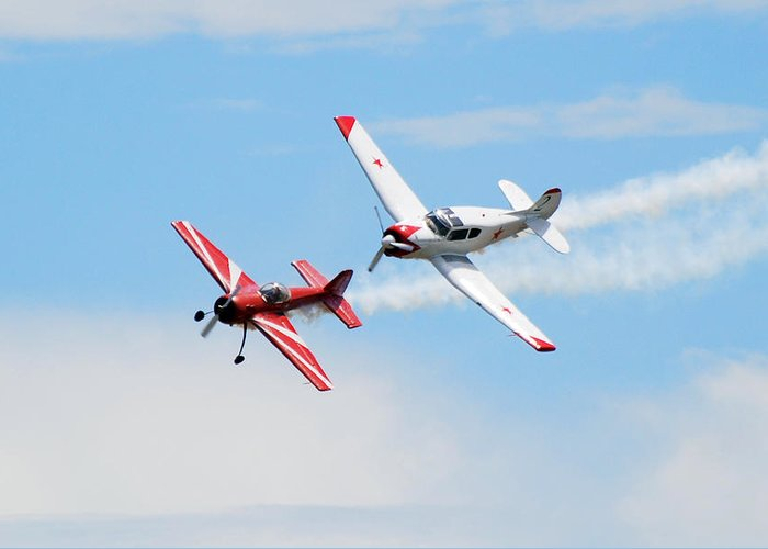 Airplanes Greeting Card featuring the photograph Yak 55 And Yak 18 by Larry Keahey