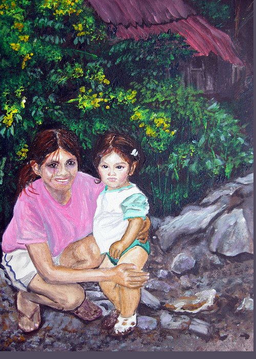 Young Mother Greeting Card featuring the painting Yamileth And Daughter by Sarah Hornsby