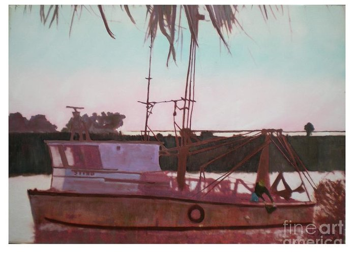 Seascape Greeting Card featuring the digital art Yankee Town Fishing Boat by Hal Newhouser