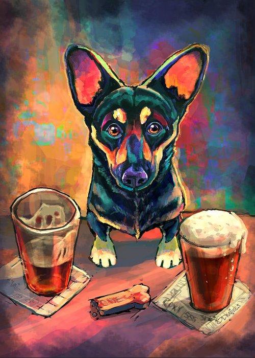 Beer Digital Art Greeting Cards