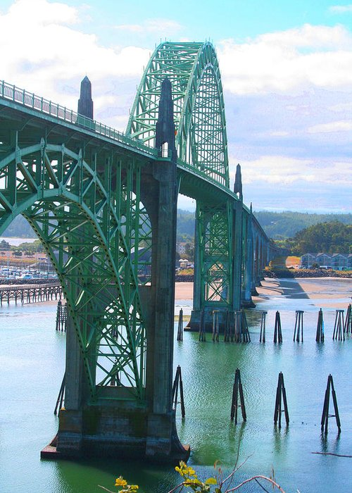 Yaquina Bay Greeting Card featuring the photograph Yaquina Bay Bridge Br-9002 by Mary Gaines