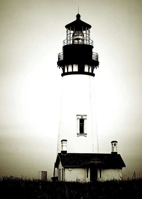 Yaquina Head Lighthouse Greeting Card featuring the photograph Yaquina Head Light - Haunted Oregon Lighthouse by Christine Till