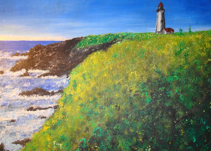 Lighthouse Greeting Card featuring the painting Yaquina Head Light by Phil Cashdollar