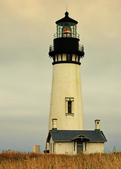 Yaquina Head Lighthouse Greeting Card featuring the photograph Yaquina Head Lighthouse - Newport Or by Christine Till