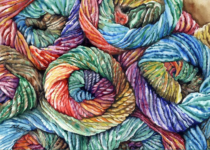 Yarn Greeting Card featuring the painting Yarn by Nadi Spencer