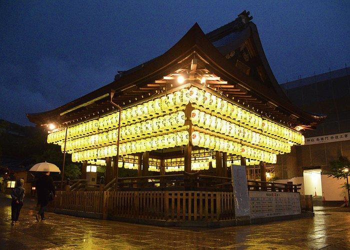 Night Greeting Card featuring the photograph Yasaka Shrine by Mason Del Rosario