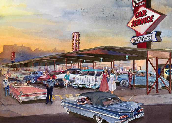Yaw's Drive-in Restaurant Tootsie Roll Cop Bob Svilar Car Hops Chevy Pontiac Oldsmobile Nomad Ford Grant High School Portland Oregon French Fries Gravy Green River Top Notch Burger Policeman Robert Football Basketball Sports Rock And Roll Greeting Card featuring the painting Yaw's Top Notch Drive In by Mike Hill