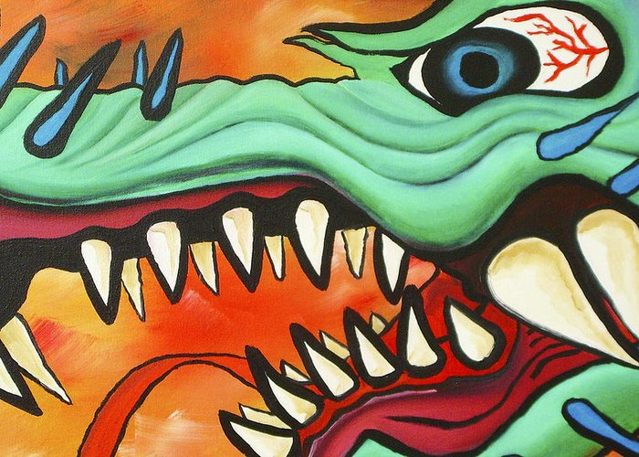 Dragon Greeting Card featuring the painting Year Of The Dragon by Joseph Palotas