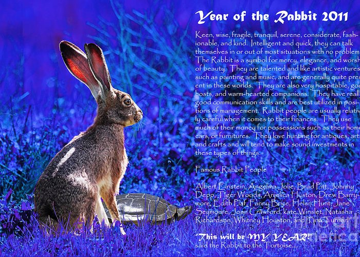Year Of The Rabbit Greeting Card featuring the photograph Year Of The Rabbit 2011 . Blue by Wingsdomain Art and Photography