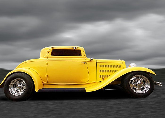 Hotrod Greeting Card featuring the photograph Yellow 32 Ford Deuce Coupe by Gill Billington