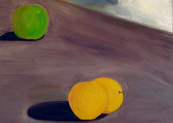Greeting Card featuring the painting Yellow Apples by Troy Thomas