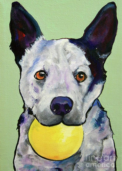 Australian Cattle Dog Greeting Card featuring the painting Yellow Ball by Pat Saunders-White