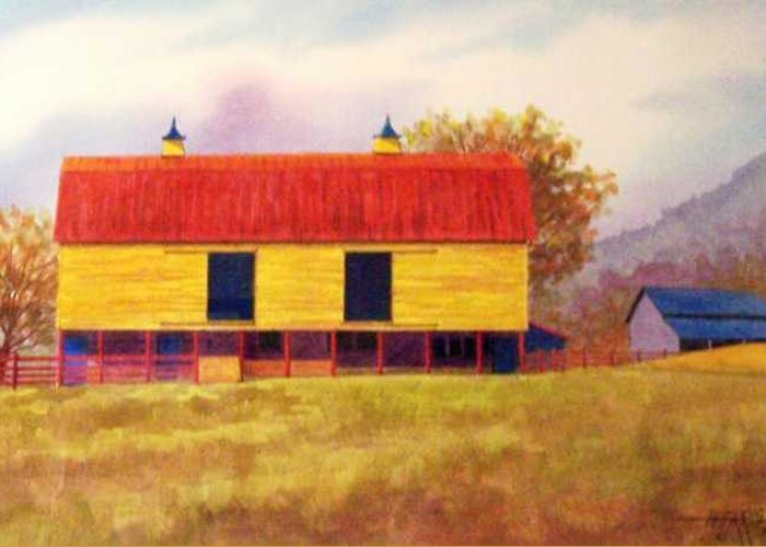 Landscape Greeting Card featuring the painting Yellow Barn by Hugh Harris