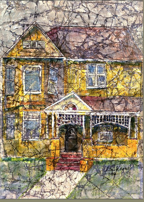 House Greeting Card featuring the mixed media Yellow Batik House by Arline Wagner