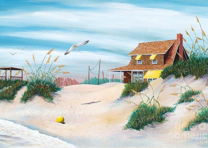 Beach Greeting Card featuring the painting Yellow Beach Ball by Hugh Harris