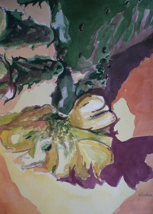 Greeting Card featuring the painting Yellow Blossom Purple Shadow by Aleksandra Buha