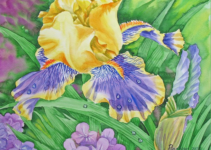 Flowers Greeting Card featuring the painting Yellow Blue Iris .2007 by Natalia Piacheva