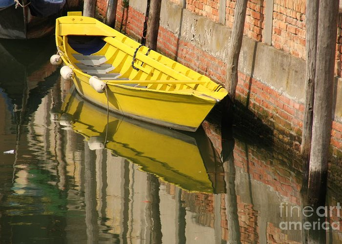 Venice Greeting Card featuring the photograph Yellow Boat In Venice by Michael Henderson