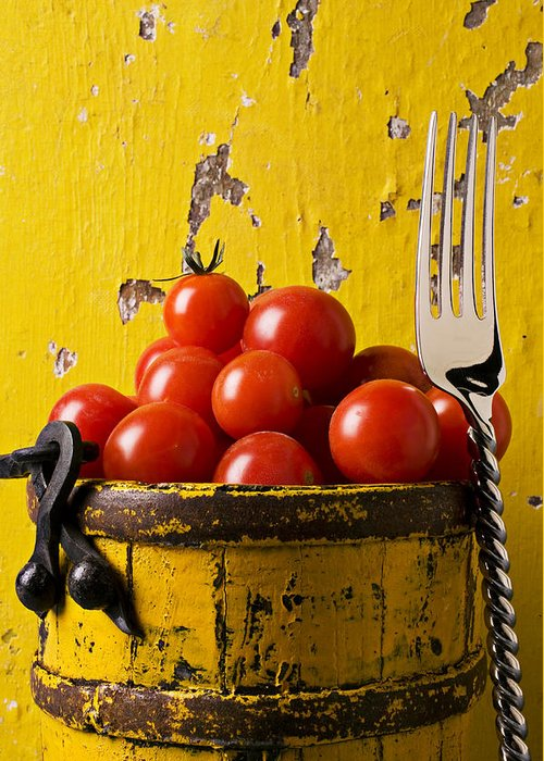 Cherry Greeting Card featuring the photograph Yellow Bucket With Tomatoes by Garry Gay