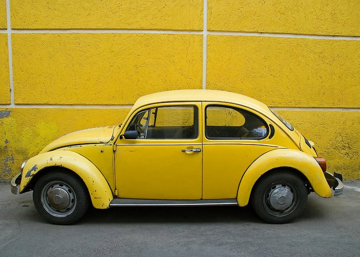 Yellow Greeting Card featuring the photograph Yellow Bug by Skip Hunt