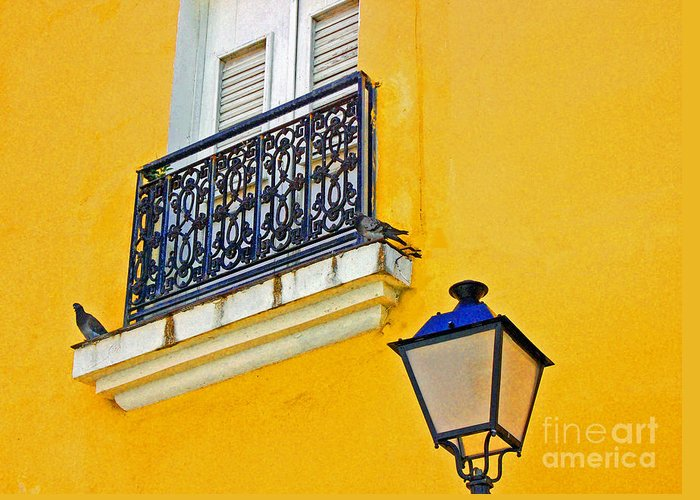 Pigeon Greeting Card featuring the photograph Yellow Building by Debbi Granruth