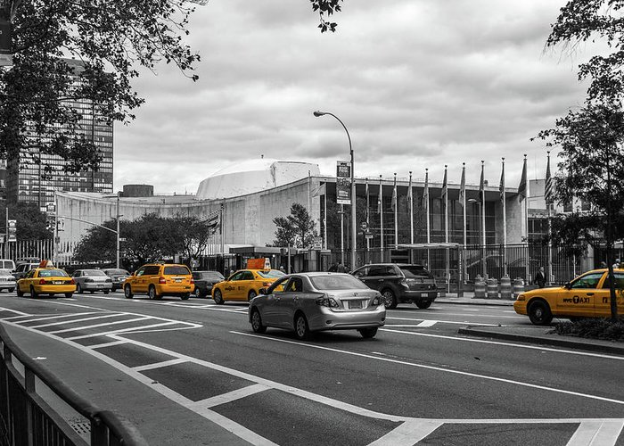 Big Apple Greeting Card featuring the photograph Yellow Cabs By The United Nations, New York 3 by Art Calapatia