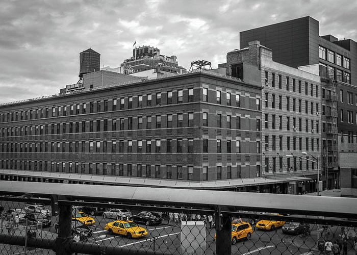 Big Apple Greeting Card featuring the photograph Yellow Cabs In Chelsea, New York 3 by Art Calapatia