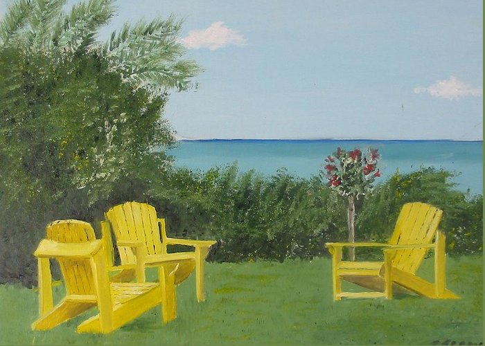 Seascape Greeting Card featuring the painting Yellow Chairs At Blue Mountain Beach by John Terry