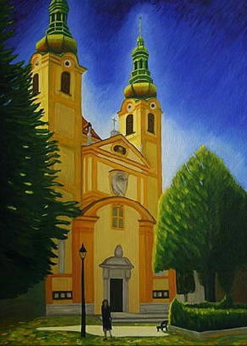 Building Greeting Card featuring the painting Yellow Church-vienna by Stephen Degan