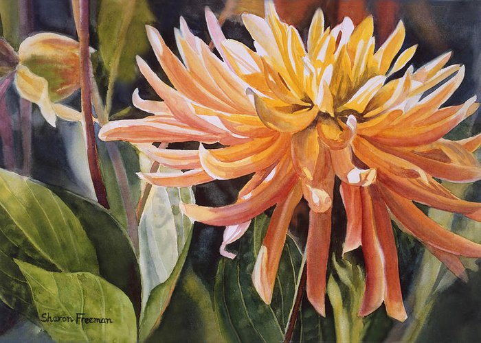 Dahlia Greeting Card featuring the painting Yellow Dahlia by Sharon Freeman