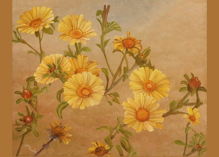 Daisies Greeting Card featuring the painting Yellow Daisies by Angeles M Pomata