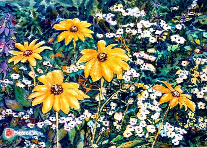 Daisies Greeting Card featuring the painting Yellow Daisies by Norma Boeckler