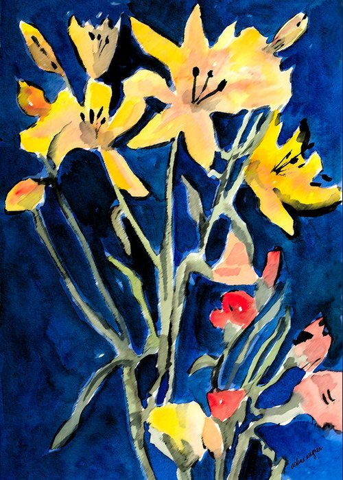 Flower Greeting Card featuring the painting Yellow Daylilies by Arline Wagner