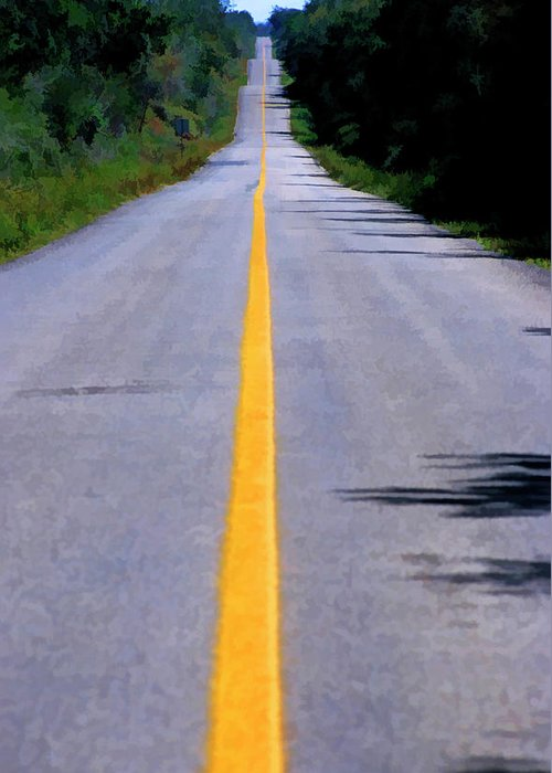 Absence Greeting Card featuring the photograph Yellow Dividing Line Marking An Empty Road Between Uxmal And Kabah by Sami Sarkis