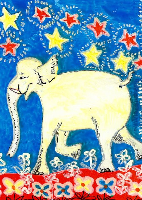 Sue Burgess Greeting Card featuring the painting Yellow Elephant Facing Left by Sushila Burgess