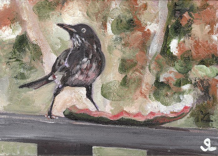 Puerto Rico Greeting Card featuring the painting Yellow Eyed Bird by Sarah Lynch