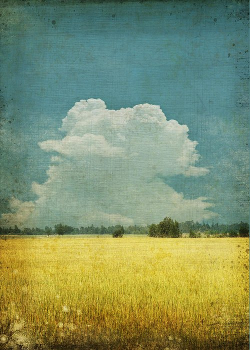 Abstract Greeting Card featuring the photograph Yellow Field On Old Grunge Paper by Setsiri Silapasuwanchai