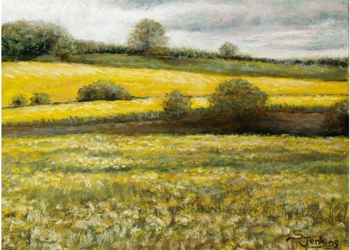 Landscape Greeting Card featuring the painting Yellow Fields by Susan Jenkins
