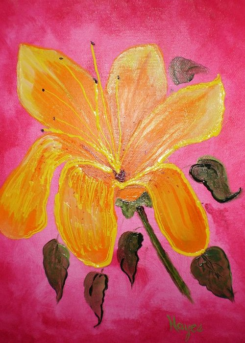 Yellow Greeting Card featuring the painting Yellow Flower by Barbara Hayes